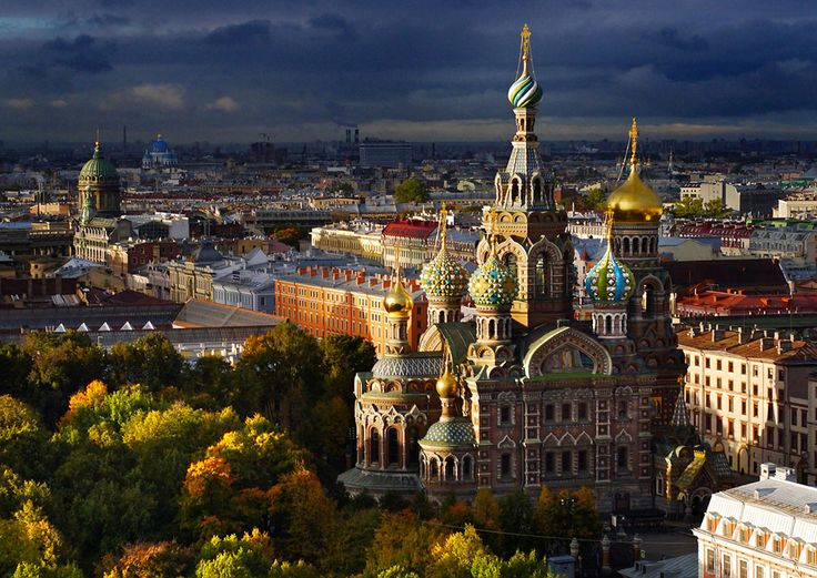 The Church of the Savior on Spilled Blood during a squally autumn morning. The church marks the spot where the reformist Tsar Alexander II was assassinated by a bomb-rolling revolutionary. St. Petersburg From Above - In Focus - The Atlantic