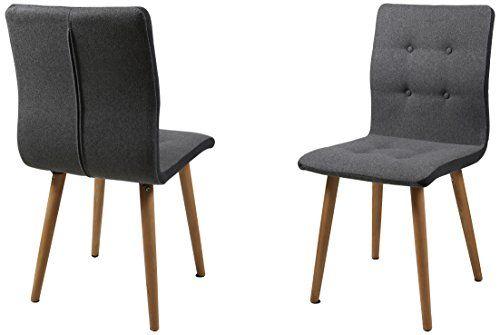 AC Design Furniture H000014095 Esszimmerstuhl 2-er Set Charlotte  127€ (manchmal teurer, auf den Tagespreis achten) Sitz/Rücken Stoff, Seiten dunkelgrau,