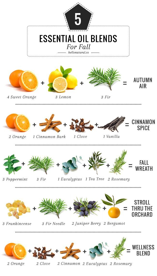 5 Essential Oil Blends To Make Your House Smell Like Fall | http://hellonatural.co/5-essential-oil-blends-for-fall/
