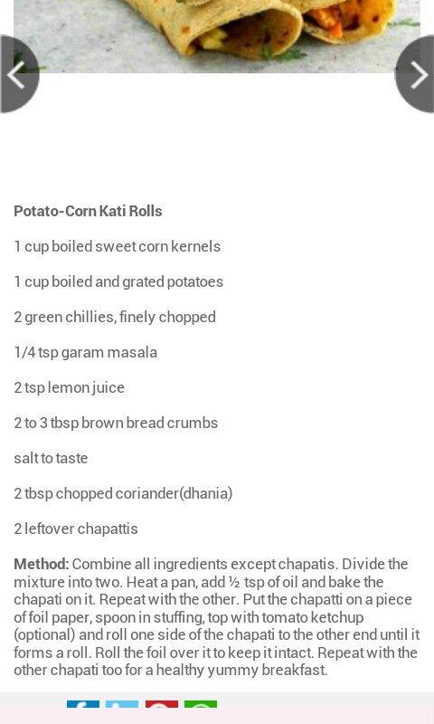 Potato corn kati roll