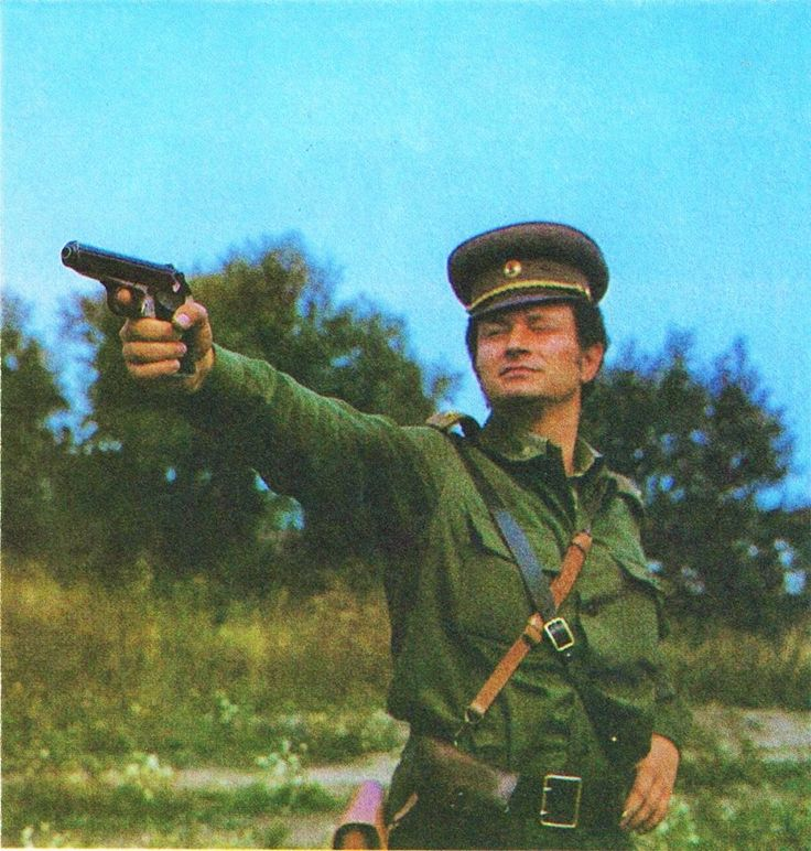 An officer of the Hungarian People`s Army practicing shooting with a Makarov pistol.