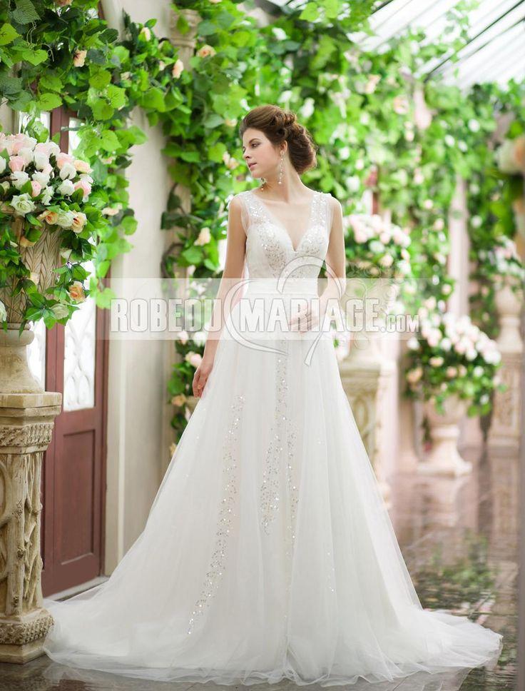 Col en V robe de mariée enceinte dos nu en tulle paillette [#ROBE2012755] - robedumariage.com