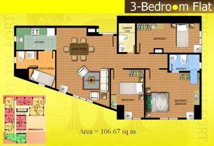 Fort Residences - 3-Bedroom Unit Floor Plan #manilacondo #bestcondo #condominium http://www.mymanilacondo.com/