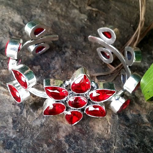 Hand Crafted Silver Filled Garnet Flower Cuff Bangle
