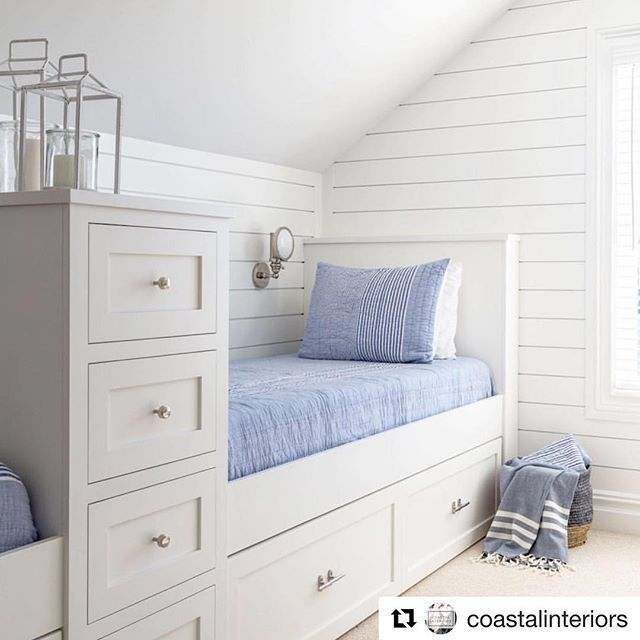 Custom built bed with plenty of storage. Ideal for your smallest bedroom. #smallspaces #nautical #nauticalinteriors #hamptonsstyle #custombuilt #inspire #shiplapwalls #Repost @coastalinteriors  Simple and Practical. via: @saltdesignco