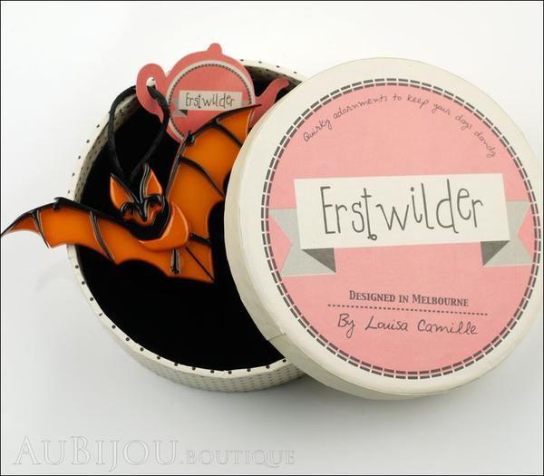 Erstwilder Pin Brooch Bill The Bashful Bat Halloween Orange ...