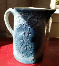 Antique American Stoneware Pitcher Cherries Blue Molded Pottery