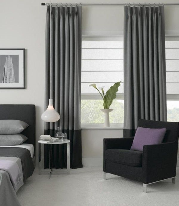 25 best ideas about grey check curtains on pinterest purple bedding purple bedroom curtains for Grey bedroom window treatments