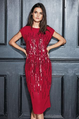 Buy Red Sequin Ombré Dress from the Next UK online shop
