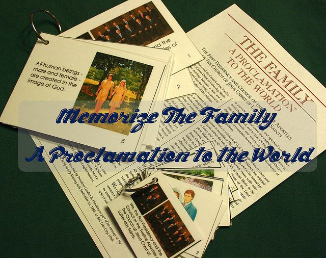 Memorize The Family: A Proclamation to the World - Free posters and cards to download to help you and your family memorize it in 12 weeks!