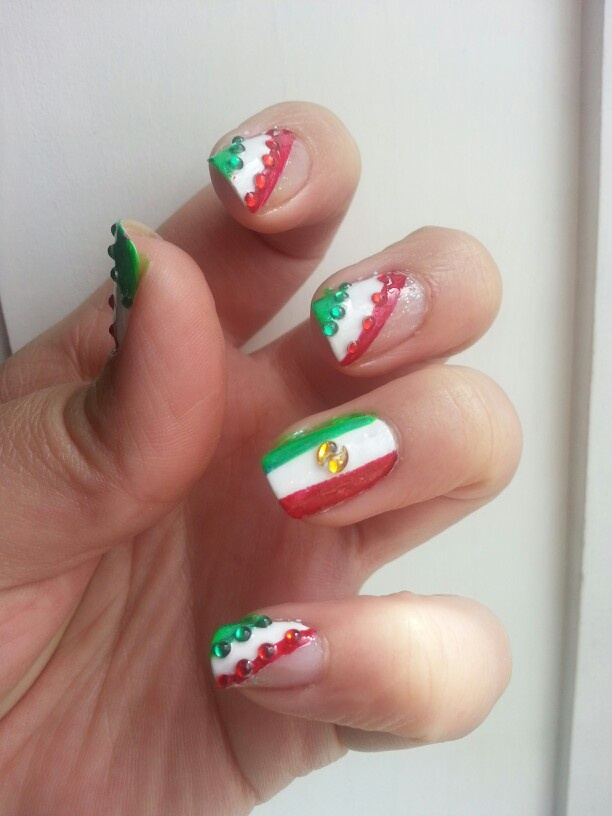 U as con la bandera mexicana my designs pinterest for Decoracion de unas simple