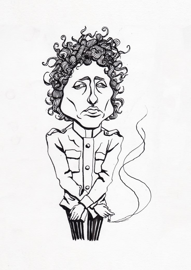 Bob Dylan ink caricature drawing by Karoliina Pärnänen, 2017. #bobdylan #inkdrawing #blackink #caricature