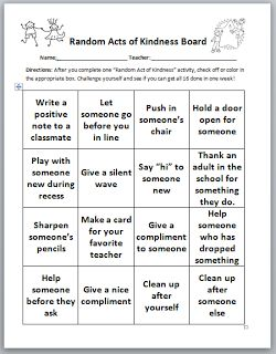 Random Acts of Kindness. Good template and could be modified for use with high…