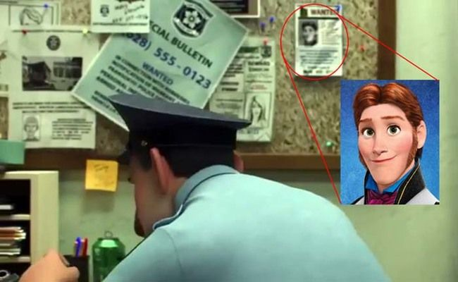 Disney is so sneaky. Like with Hans from Frozen shows up in a wanted poster during Big Hero 6 (an upcoming movie) click on it to see more