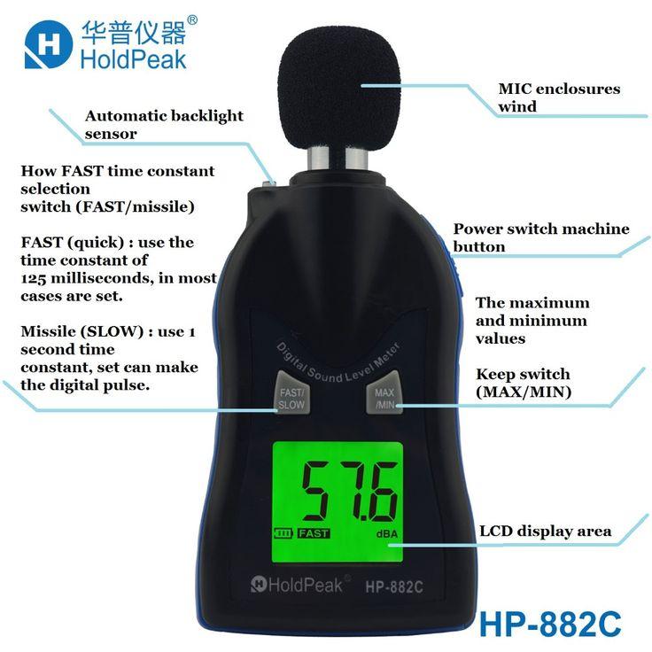 Holdpeak HP-882C 30~130dB Sound Level Meters Digital Noise Tester LCD Screen Vioce Describe Meter Monitor Pressure Tester