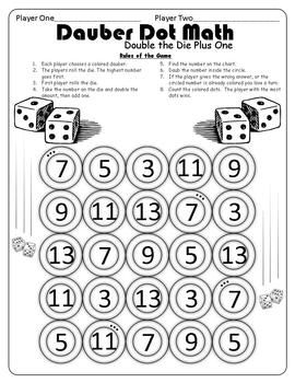 Here is a sample page from the Dauber Dot Math activity. In the complete Dauber Dot Math it is a series of math center activities that include:doubles, doubles plus one, doubles minus one, adding ten, even or odd, and other related addition and subtraction strategies.These games can be copied and given to each student or pair of students depending on the game requirements and daubers are used to mark their game sheets.