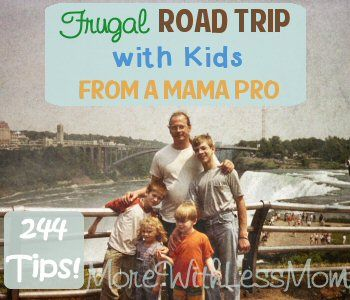 Frugal Road Trip with Kids from a Mama Pro - This is a series of articles on how to survive a road trip with four kids, including a toddler and a preschooler, from a frugal mom who has done it on the cheap many times. Chock full of 244 fantabulous tips for your long car trip! From TheMoreWithLessMom.com