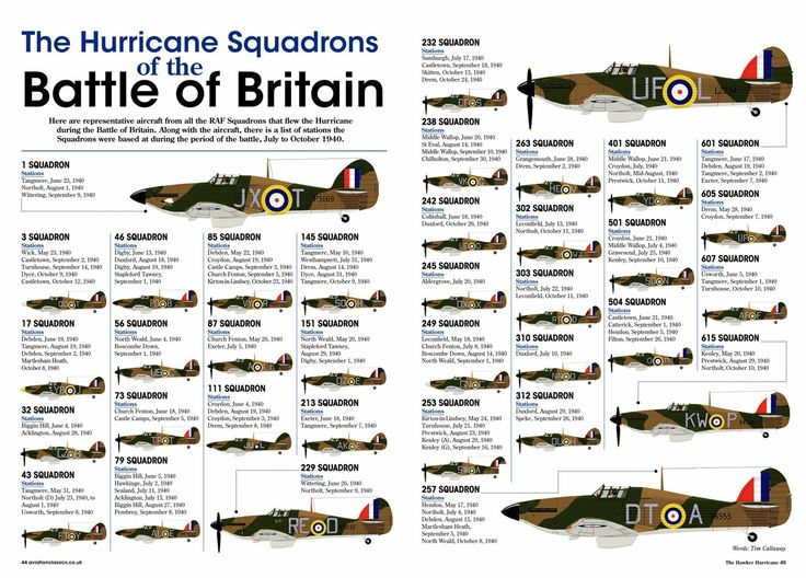 "R.A.F. Battle of Britain Hawker Hurricane Squadrons 1940. No.1 top scoring squadron in the Battle of Britain was Polish, 303 Sq. Flying Hurricanes, not Spitfires. The 3rd highest scoring was ALSO Polish. When Churchill referred to ""the few owed so much by so many"", I'd like to think he meant the Poles, not the entire RAF. The Poles were tremendous in all services, and their service and reward was a crime at the end of the war. They deserved so much more."