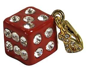 Dado portafortuna in metallo smaltato con strass rosso - 1x4x1 cm