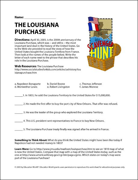 Education World: The Louisiana Purchase Internet Scavenger Hunt C3 Wk6