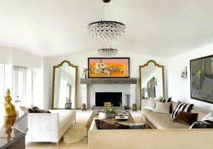 New wall decored above couch mirror spaces Ideas