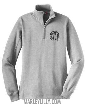 quarter-zip monogrammed pullover