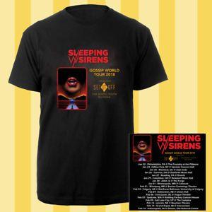 Sleeping With Sirens Gossip world tour dates jan-feb 2018 black tees; Material 100% cotton, Basic style; Short sleeve;