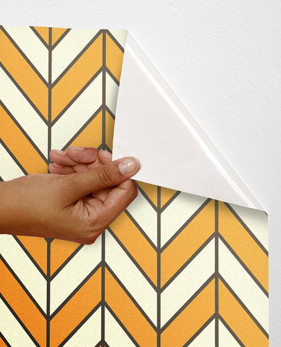 Removable self-adhesive vinyl Wallpaper wall sticker  decal- Chevron and line pattern C005