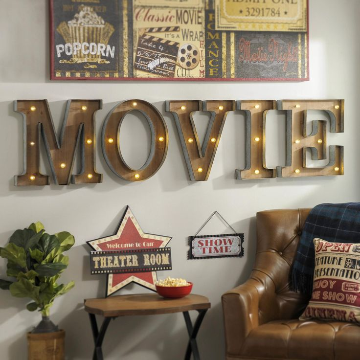 Superb Help Someone On Your Christmas List Light Up Their Walls With The Retro  Chic Shine Of · Diy Movie Theater RoomMovie Room DecorationsMovie ... Part 14