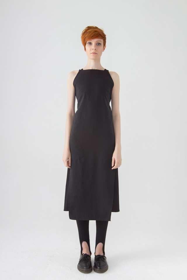 Платье-фартук черный