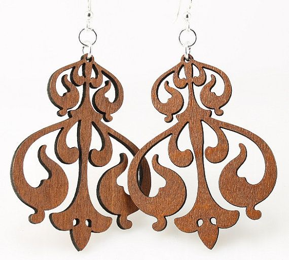 Rorschach ink design - Laser Cut Wood Earrings