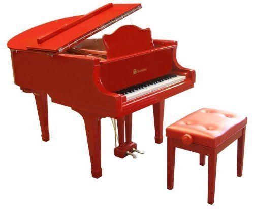 Schoenhut red 49 key pro baby grand piano by schoenhut for Baby grand piano height