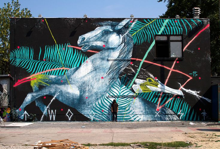 Twoone Paints Largescale Mural in Urban Spree Complex, Berlin