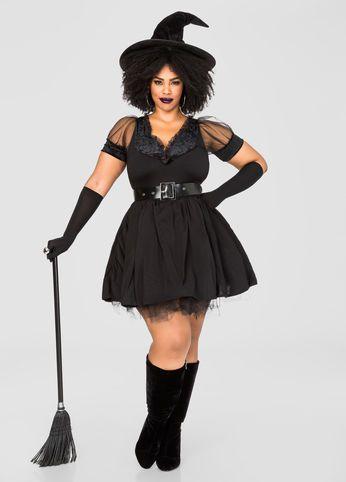 Pin-Up Plus Size Witch Costume-Plus Size Halloween Costumes-Ashley Stewart-069-PK444XL