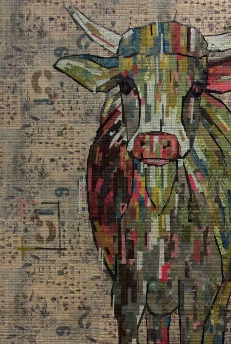 Abilene Cow Collage Pattern by Laura Heine