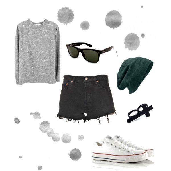 cool summer > gray top, black hi waist cut offs, sneaks, beanie
