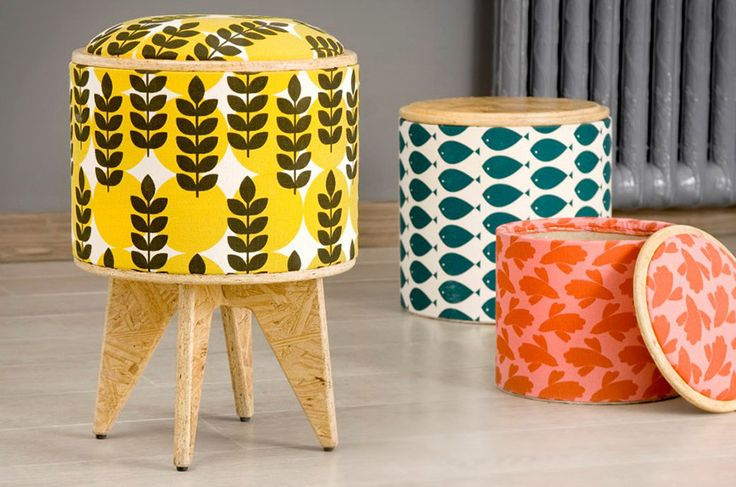 A partir de descartes de cartón, Antonela Dada y Bruno Sala crearon estos atractivos y versátiles bancos.