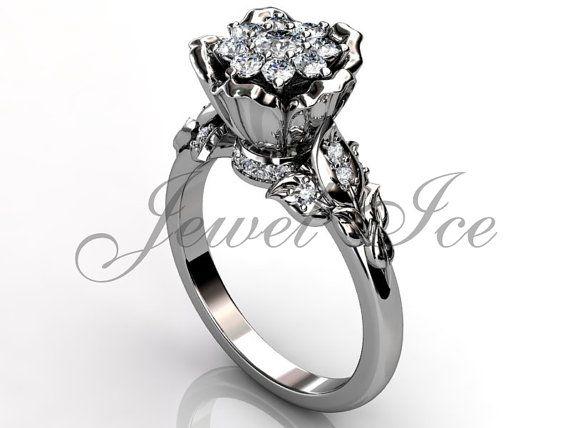 Flor anillo de compromiso  14 k oro blanco diamante clúster