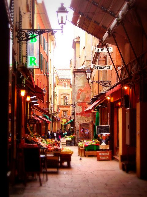 Bologna, Italy. I want to go to the fresh market in the morning to get fresh food just like the locals. by fay
