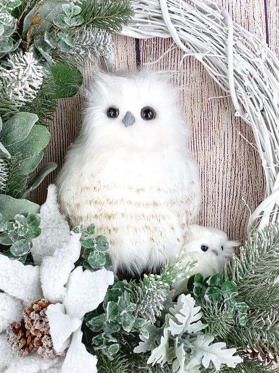 Ugle krans for inngangsdør, hvit vinterkrans, julevinrankrans, naturkunst, ugledekor, uglegaver for kvinner, naturlige furuskranser  Owl Wreath for Front Door White Winter Wreath Christmas   Etsy