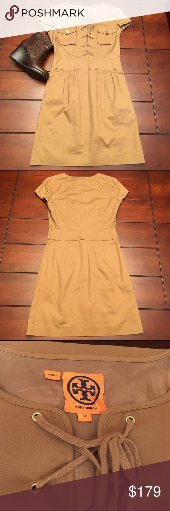 Tory Burch Cap Sleeve Tan Dress, Size 0 Tory Burch Cap Sleeve Tan Dress, Size 0  Super cute and in fab like-new condition! Wear this with a blazer for fall. 🍂🍁Measures 35 inches from shoulder to hem. Bust is 33 inches. Tory Burch Dresses