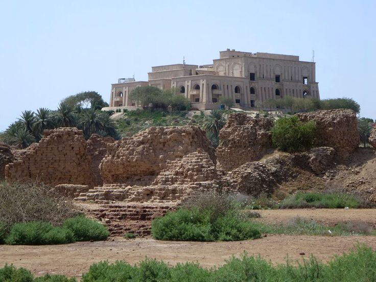 A former palace of Saddam Hussein stands atop a hill overlooking Babylon, Iraq. Other famous rulers of Babylon include Hammurabi, who created the world's first code of law in 1700 BC, and Alexander the Great, who was married and died here.