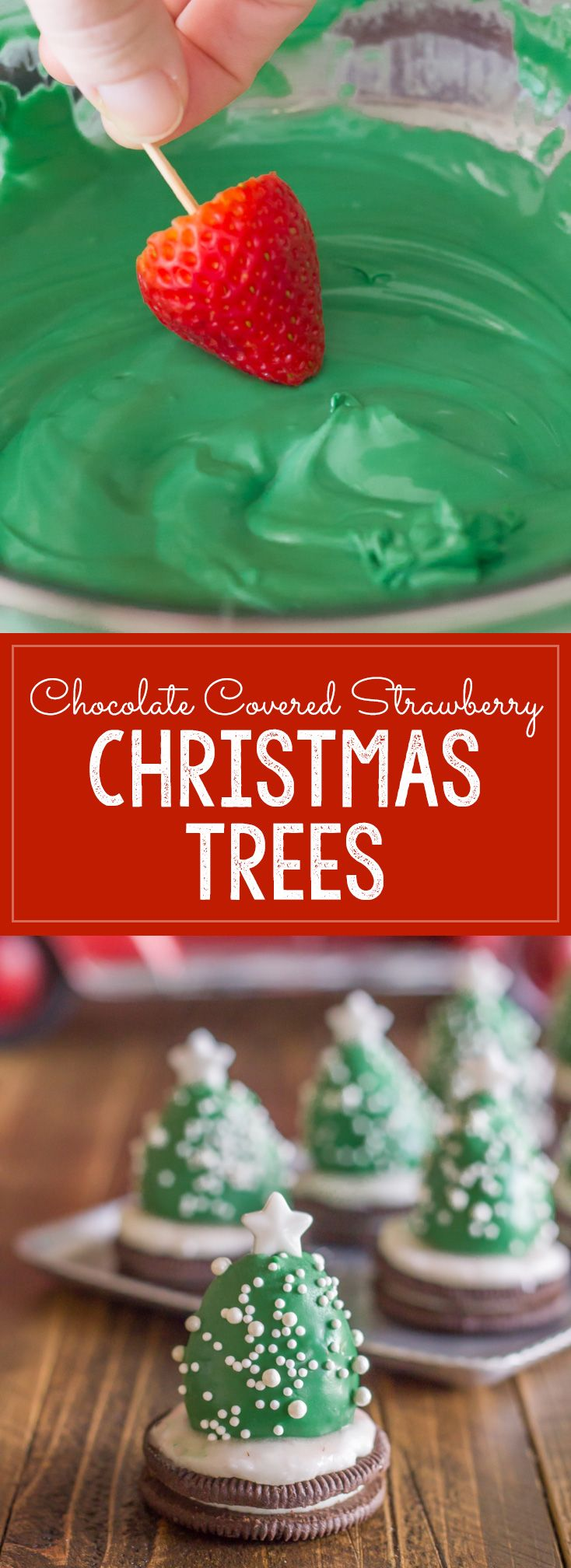 Strawberry Dipped Christmas Trees! A fun and easy Christmas project to do with your kiddos, and an adorable holiday snack! Great homemade treat for classroom parties, potlucks, Christmas parties etc.