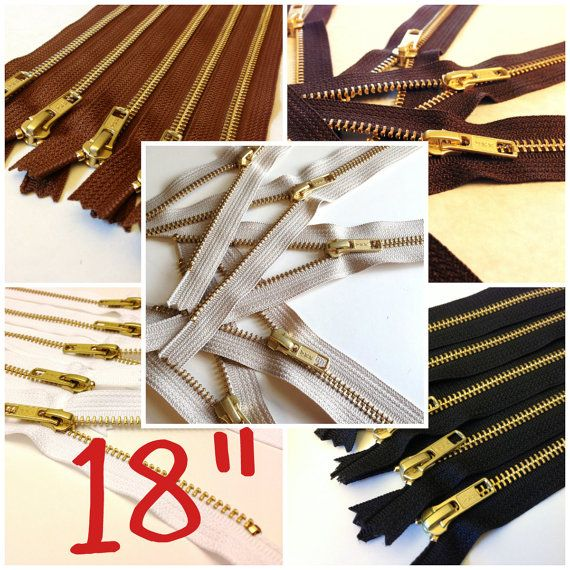 18 inch gold teeth zippers, Choose FIVE pcs, black, medium, dark brown, beige, white brass, metal zips for leather bags, purses, dresses
