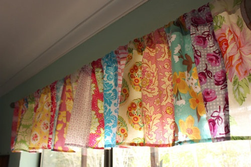 Patchwork Valance Shabby Chic Window Treatment by Starlit Nest contemporary curtains