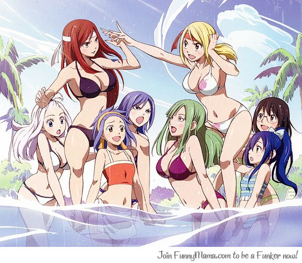 Fairies at the Pool. I have no idea who is holding Lucy and Erza up. Also Laki looks like that crazy woman who made the fake dragon and hid a whole town.