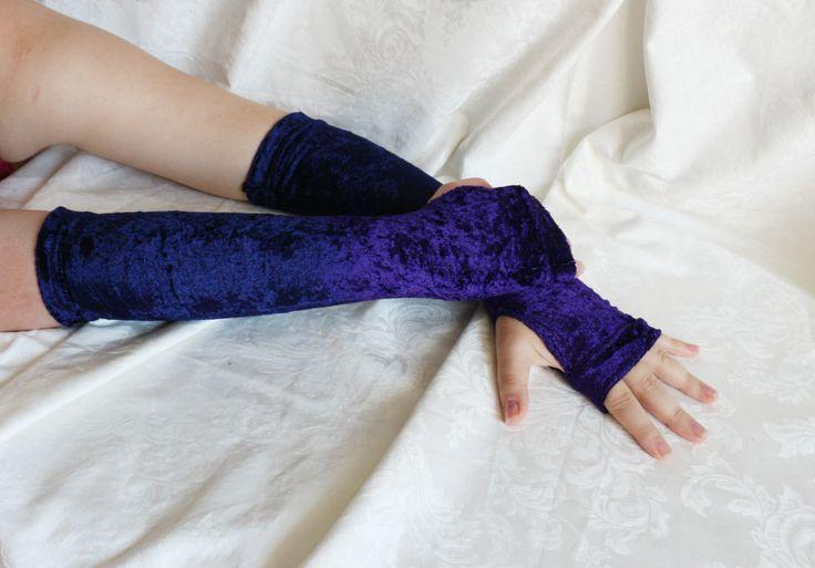 Long gradient purple velvet armwarmers fingerless gloves by AlicesLittleRabbit on Etsy