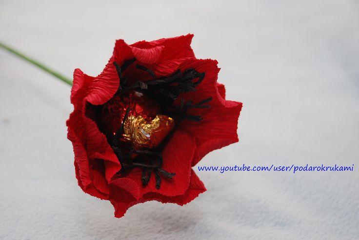 Маки из конфет. Цветы из бумаги. DIY paper poppy