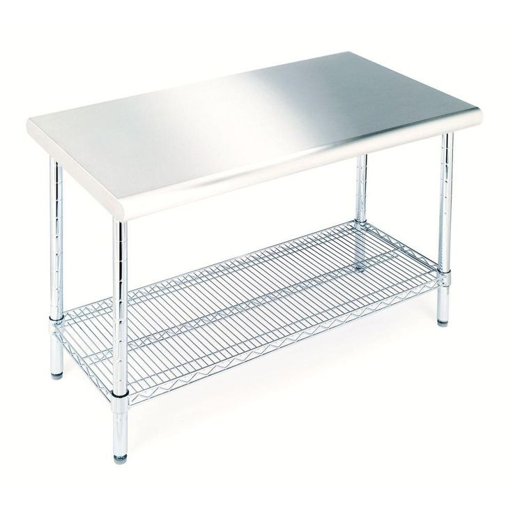 Seville classics 49 in w x 24 in d stainless steel for Home depot kitchen table