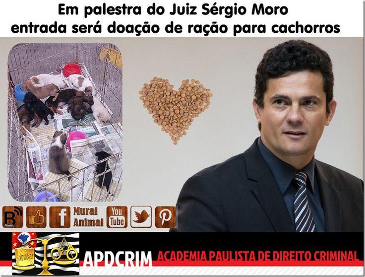Mural Animal: Em palestra do Juiz Sérgio Moro entrada será doação de ração para cachorros